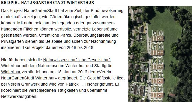 Naturgartenstadt Winterthur Schweiz